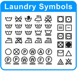 laundry symbols set on white background