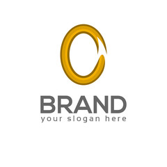 Letter O with ribbon on white background. Logo Design Template. Flat design