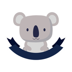 decorative emblem with cute koala icon and  ribbon over white background, colorful design. vector illustration