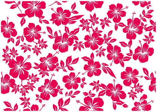 Hibiscus's full handle background illustration, texture, seamless design,Image of summer