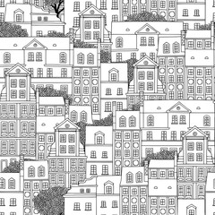 Hand drawn seamless pattern of Polish houses with trees