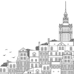 Hand drawn black and white illustration of Warsaw, Poland with empty space for text