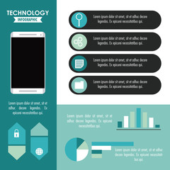 Tehnology infographic with statistics and elements vector illustration graphic design