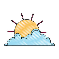 sun and cloud icon over white background, colorful design. vector illustration