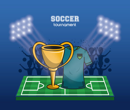 Soccer world cup cup on field vector illustration graphic design