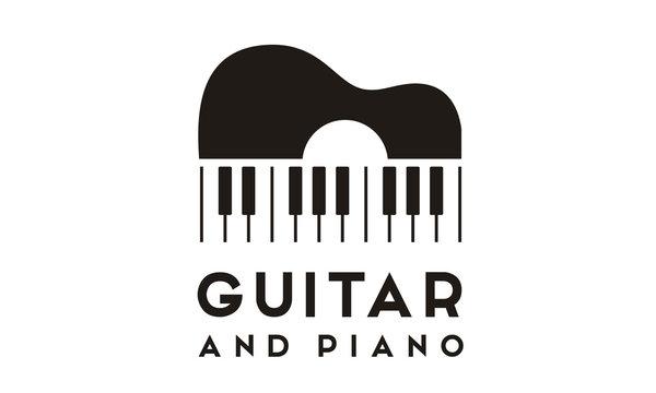 Guitar Strings and Piano Key Music Instrument logo design