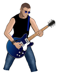 Guitar player with blue electric guitar