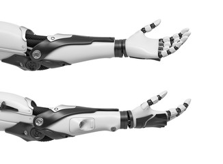 3d rendering of set of two black and white robotic hands with palms open and fingers relaxed and sticking out.