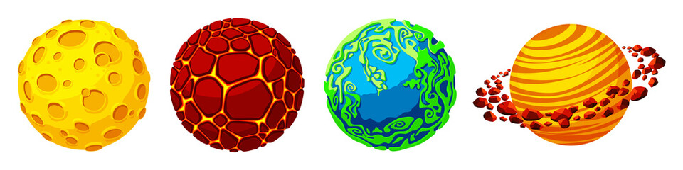 Vector cartoon fantastic planet, worlds asteroid set. Cosmic, alien space elements for game design. Illustration with fire galaxy with volcanic craters, satellite rings, blue green plants planet.