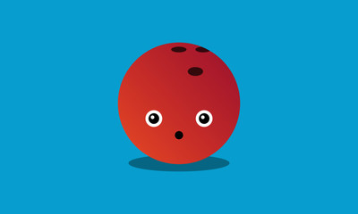 Bowling Ball Sport Vector Illustration with Smiley Face