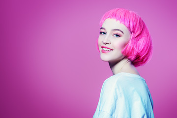 stylish pink wig