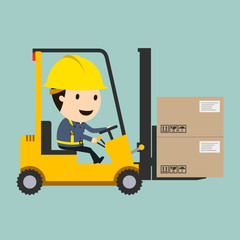 Transportation work, Forklift driving, Vector illustration, Safety and accident, Industrial safety cartoon