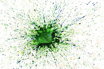 Watery spreading and splashing of green with blue and yellow on white background , Illustration abstract watercolor hand draw and painted on paper