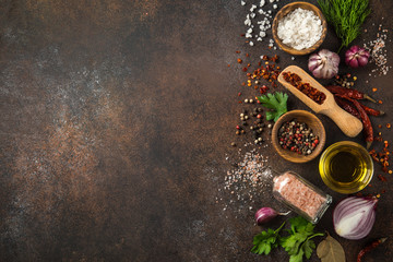 various herbs and spices on dark background.  Cooking concept. Top view. copy space