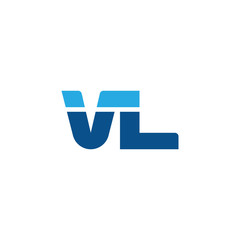 Initial letter VL, straight linked line bold logo, simple flat blue colors