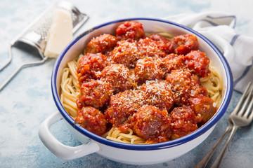 spaghetti pasta with meatballs in tomato sauce