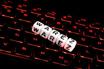 Warez symbol on keyboard