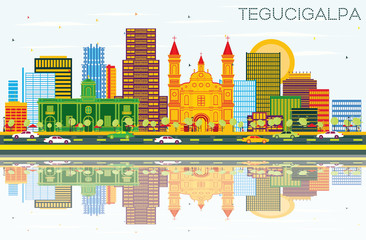 Tegucigalpa Honduras City Skyline with Color Buildings, Blue Sky and Reflections.