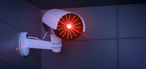 Security CCTV camera system - 3d rendering