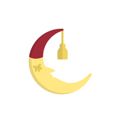 Sleeping moon in nightcap flat icon, vector sign, colorful pictogram isolated on white. Crescent in hat symbol, logo illustration. Flat style design