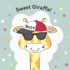 Greeting card Cute baby boy giraffe in cap.