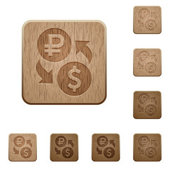 Ruble Dollar money exchange wooden buttons