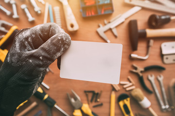 Handyman blank business card as copy space