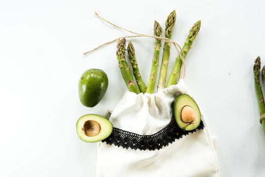 Fresh green asparagus and avocado