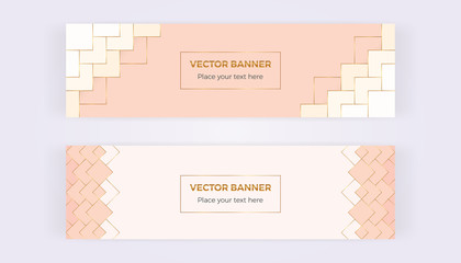 Geometric banners with triangles, gold lines on the pink background. Modern template for designs, card, flyer, invitation, party, birthday, wedding, email, web, website, social media
