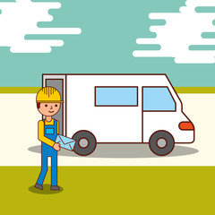 delivery service courier man holding an envelope and a van truck vector illustration