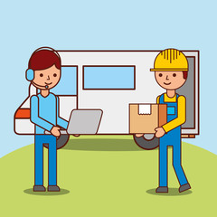 operator man cartoon with laptop and worker logistic carrying box near van vector illustration