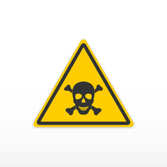 Sign poison. Toxic danger sign. Skull and bones. Icon on white background.