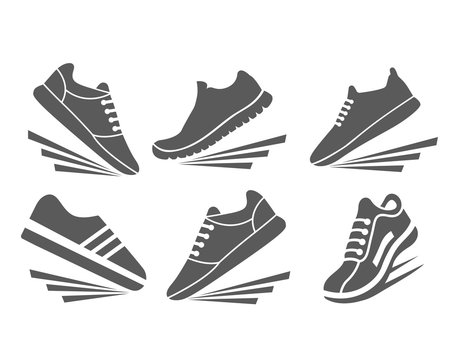 Faster sports shoes icon set