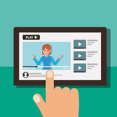 hand with tablet woman on screen video blogger vector illustration