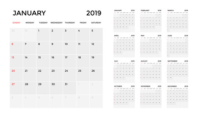 Calendar 2019 template. Calendar planning week. vector