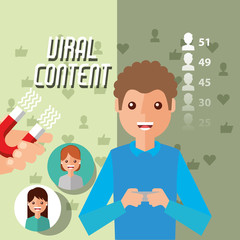 man holds mobile viral content with magnet attracts followers vector illustration