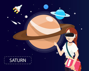Women wearing virtual reality glasses looking saturn in universe concept