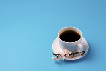 Minimalist style of the White Cup with Coffee and the Branch of Sakura Blossom on a Blue background.Copy space