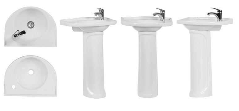 Wash basin on white background