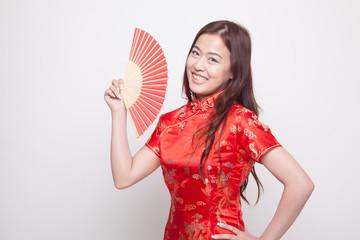 Asian girl in red chinese cheongsam dress