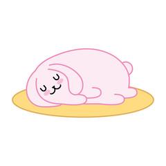 cute rabbit sleeping kawaii character vector illustration design