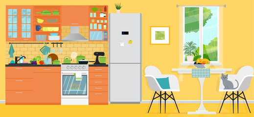 Yellow kitchen with furniture. Cozy modern kitchen interior with table, stove, cooker hood, kitchen drawers. Vector illustration. Flat style.