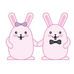 couple cute rabbits kawaii character vector illustration design