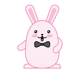 cute rabbit male with bow tie kawaii character vector illustration design