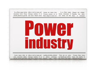 Industry concept: newspaper headline Power Industry on White background, 3D rendering