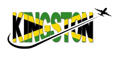 Kingston flag text with plane silhouette and swoosh illustration