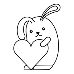 cute rabbit with heart kawaii character vector illustration design