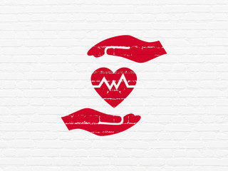 Insurance concept: Painted red Heart And Palm icon on White Brick wall background