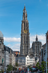 Antwerp, Belgium - Mai 1,2018: view on the onze lieve vrouw cathedral of Antwerp