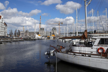 marina and central station of ostend